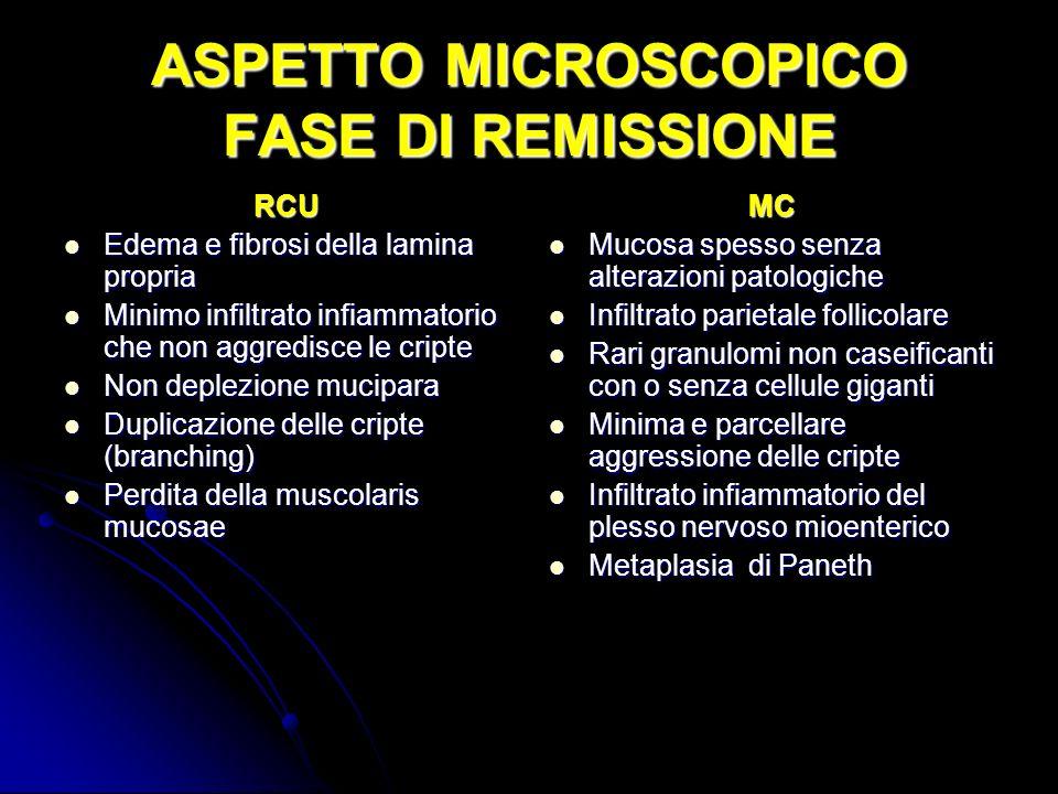 ASPETTO MICROSCOPICO FASE DI REMISSIONE RCU Edema e fibrosi della lamina propria Edema e fibrosi della lamina propria Minimo infiltrato infiammatorio