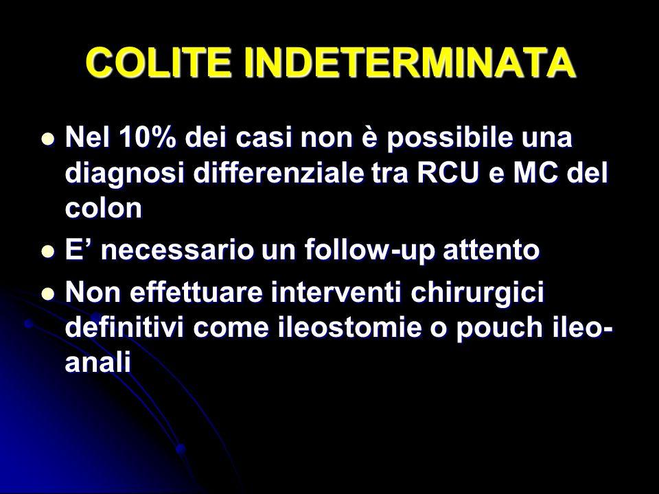 COLITE INDETERMINATA Nel 10% dei casi non è possibile una diagnosi differenziale tra RCU e MC del colon Nel 10% dei casi non è possibile una diagnosi