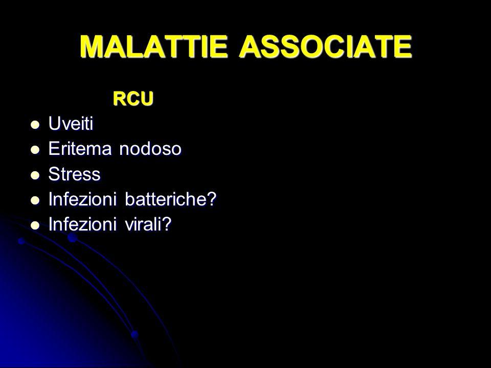 MALATTIE ASSOCIATE RCU Uveiti Uveiti Eritema nodoso Eritema nodoso Stress Stress Infezioni batteriche? Infezioni batteriche? Infezioni virali? Infezio