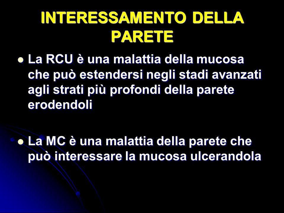 INTERESSAMENTO DELLA PARETE La RCU è una malattia della mucosa che può estendersi negli stadi avanzati agli strati più profondi della parete erodendol