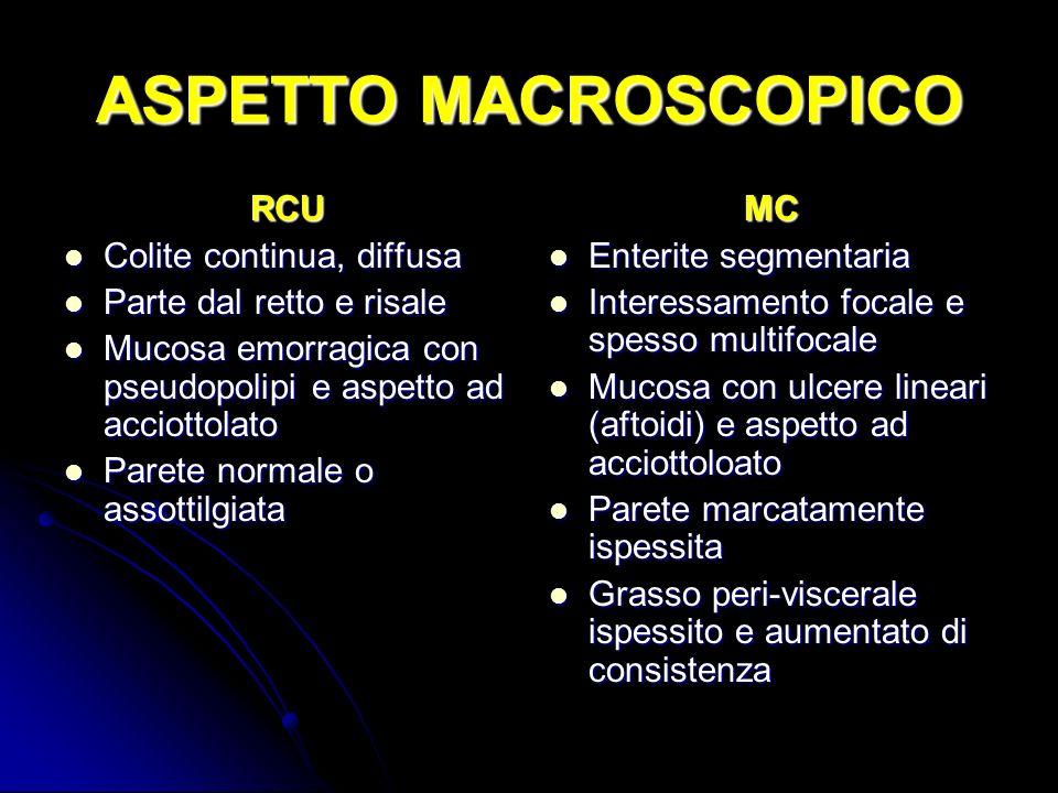 ASPETTO MACROSCOPICO RCU Colite continua, diffusa Colite continua, diffusa Parte dal retto e risale Parte dal retto e risale Mucosa emorragica con pse