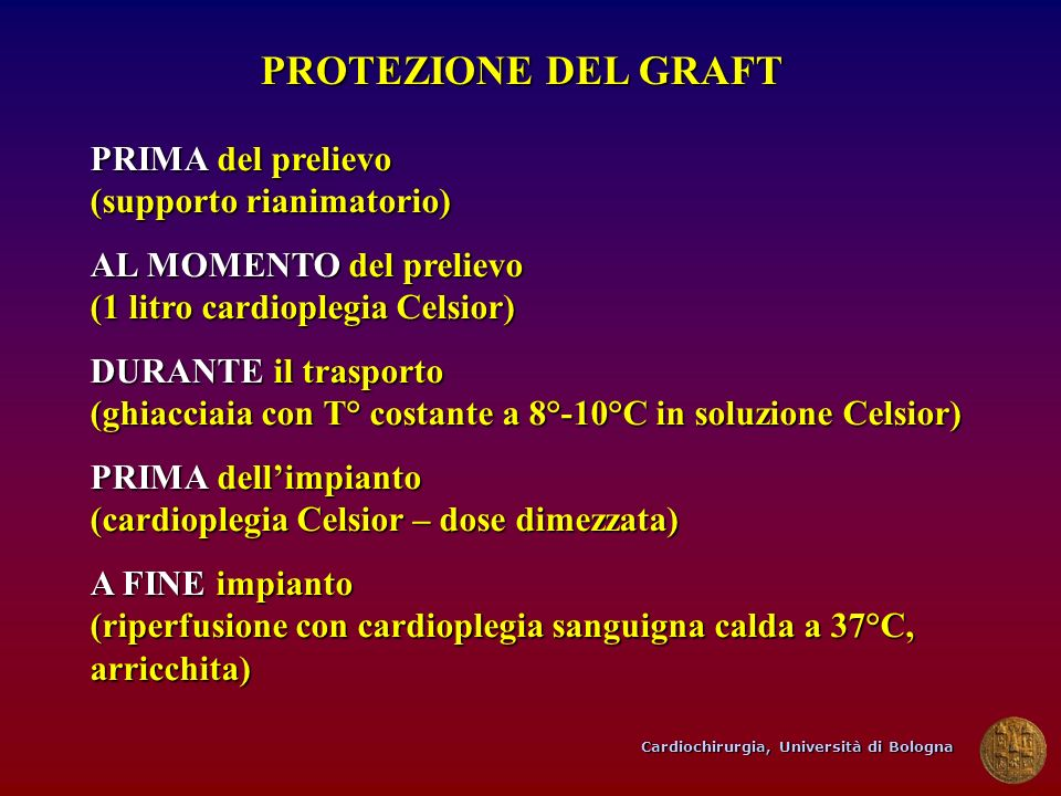 Cardiochirurgia, Università di Bologna PROTEZIONE DEL GRAFT PRIMA del prelievo (supporto rianimatorio) AL MOMENTO del prelievo (1 litro cardioplegia C