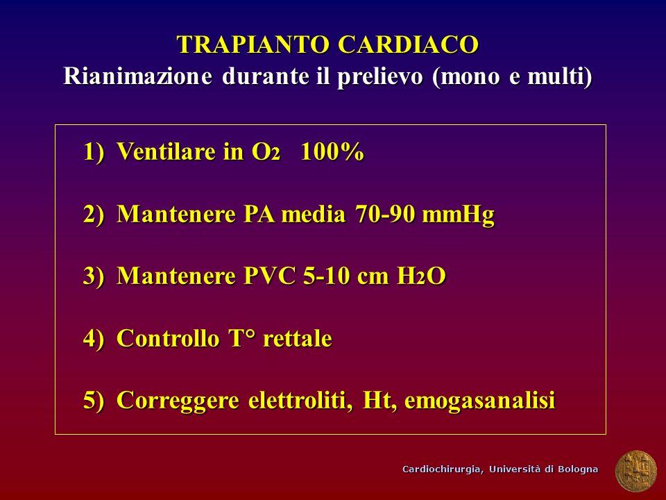 Cardiochirurgia, Università di Bologna TRAPIANTO CARDIACO Rianimazione durante il prelievo (mono e multi) 1)Ventilare in O 2 100% 2)Mantenere PA media