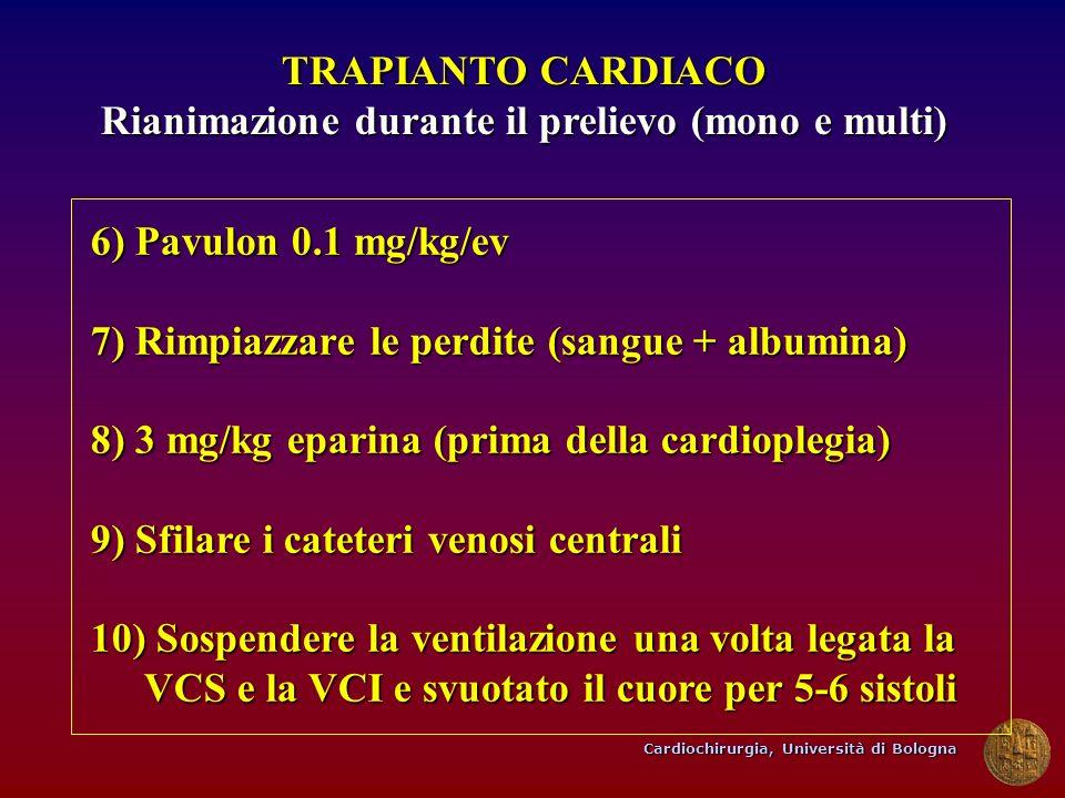 Cardiochirurgia, Università di Bologna TRAPIANTO CARDIACO Rianimazione durante il prelievo (mono e multi) 6) Pavulon 0.1 mg/kg/ev 7) Rimpiazzare le pe