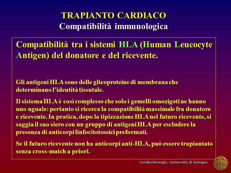 Cardiochirurgia, Università di Bologna TRAPIANTO CARDIACO Compatibilità immunologica Compatibilità tra i sistemi HLA (Human Leucocyte Antigen) del don