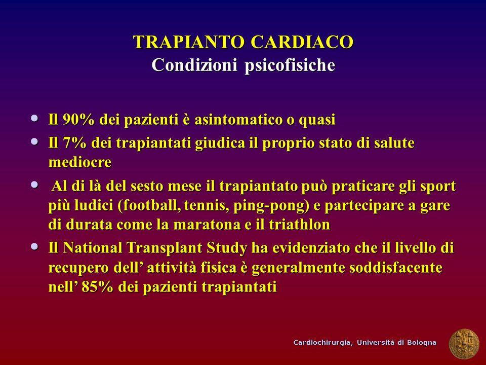 Cardiochirurgia, Università di Bologna TRAPIANTO CARDIACO Condizioni psicofisiche Il 90% dei pazienti è asintomatico o quasi Il 90% dei pazienti è asi