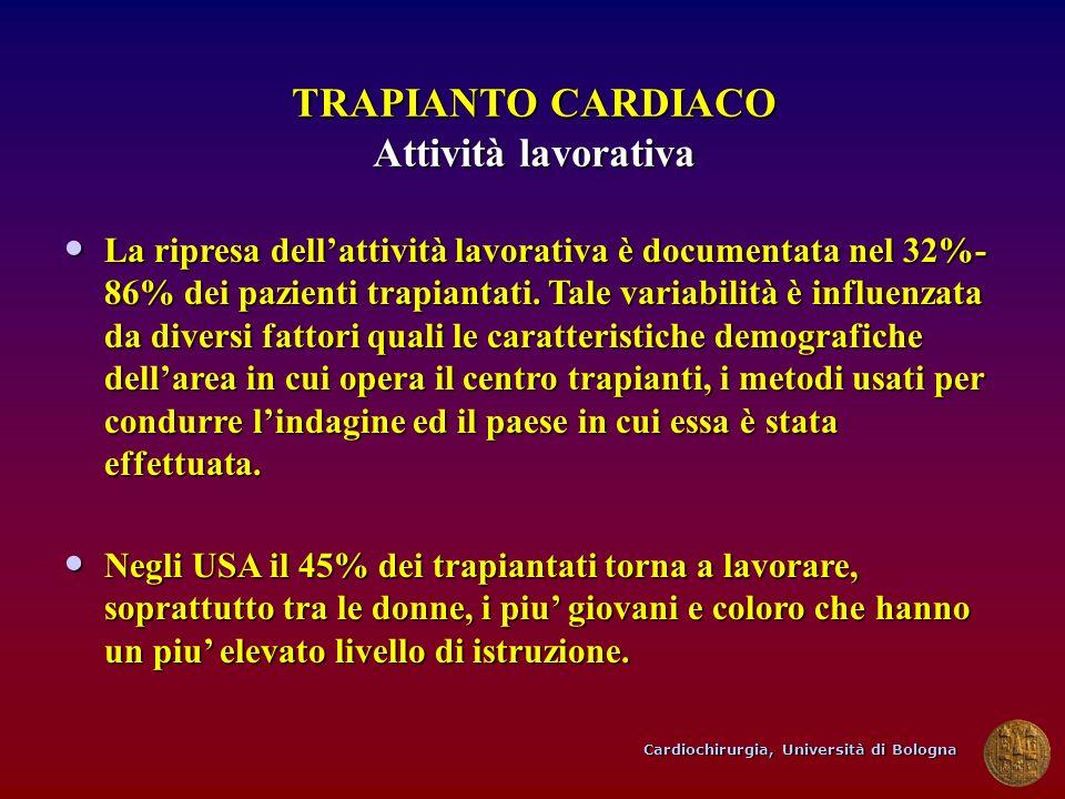 Cardiochirurgia, Università di Bologna TRAPIANTO CARDIACO Attività lavorativa La ripresa dellattività lavorativa è documentata nel 32%- 86% dei pazien
