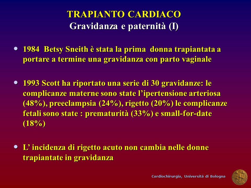 Cardiochirurgia, Università di Bologna TRAPIANTO CARDIACO Gravidanza e paternità (I) 1984 Betsy Sneith è stata la prima donna trapiantata a portare a