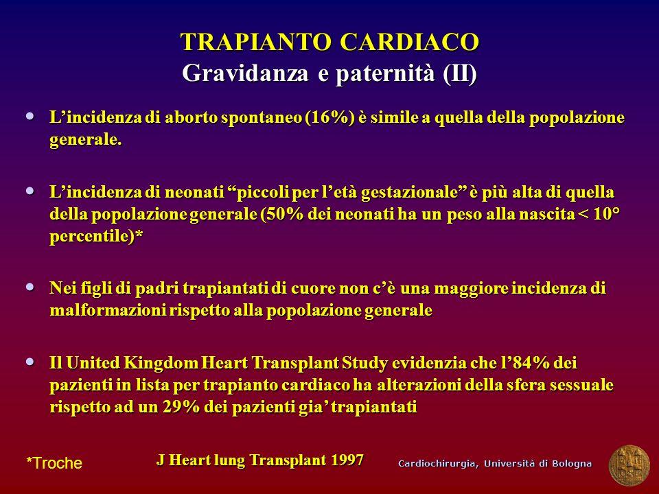Cardiochirurgia, Università di Bologna TRAPIANTO CARDIACO Gravidanza e paternità (II) Lincidenza di aborto spontaneo (16%) è simile a quella della pop
