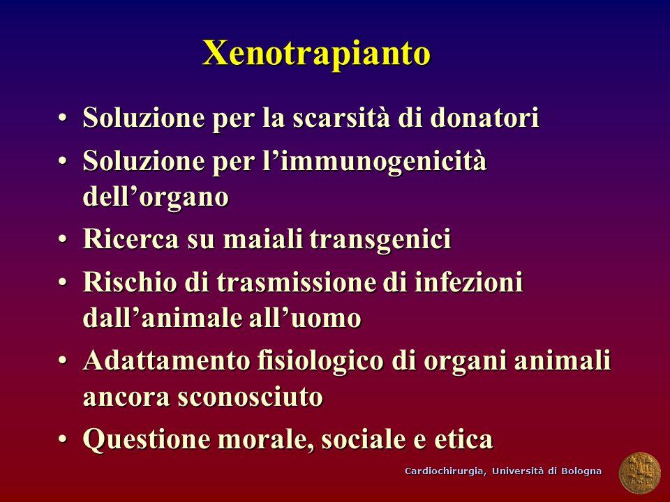 Cardiochirurgia, Università di Bologna Xenotrapianto Soluzione per la scarsità di donatoriSoluzione per la scarsità di donatori Soluzione per limmunog