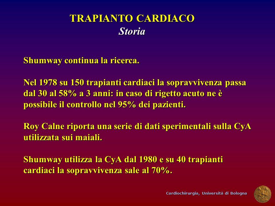 Cardiochirurgia, Università di Bologna TRAPIANTO CARDIACO Storia Shumway continua la ricerca. Nel 1978 su 150 trapianti cardiaci la sopravvivenza pass