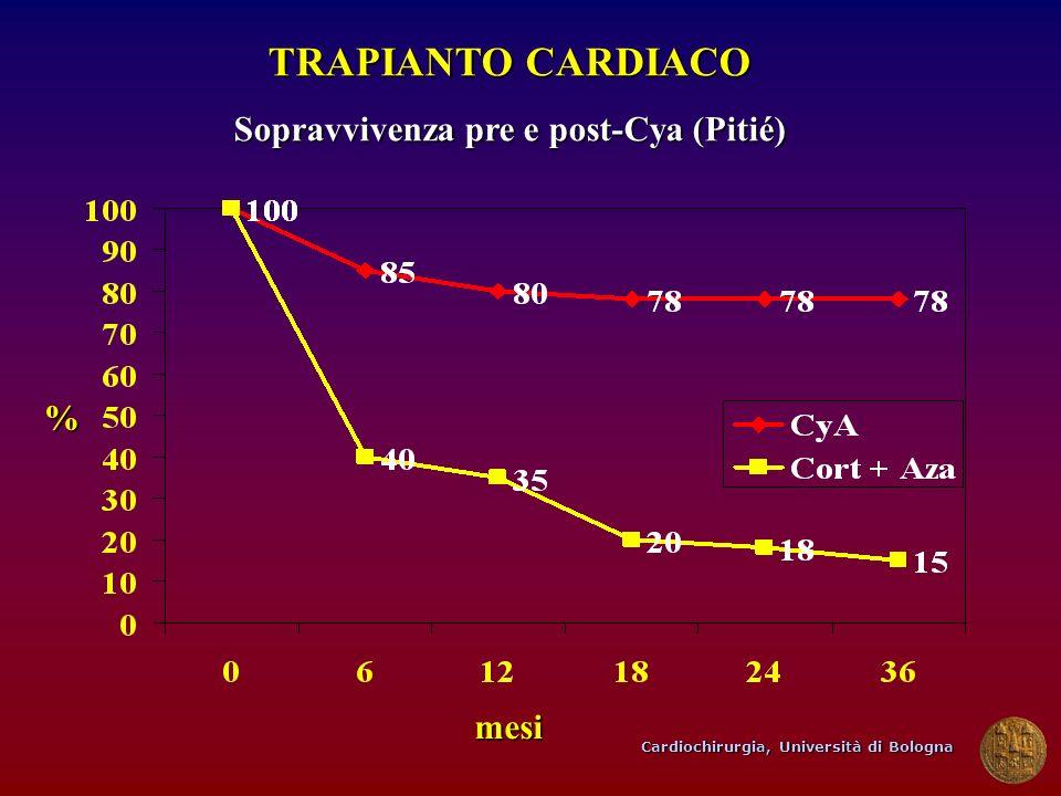 Cardiochirurgia, Università di Bologna TRAPIANTO CARDIACO Sopravvivenza pre e post-Cya (Pitié) mesi %