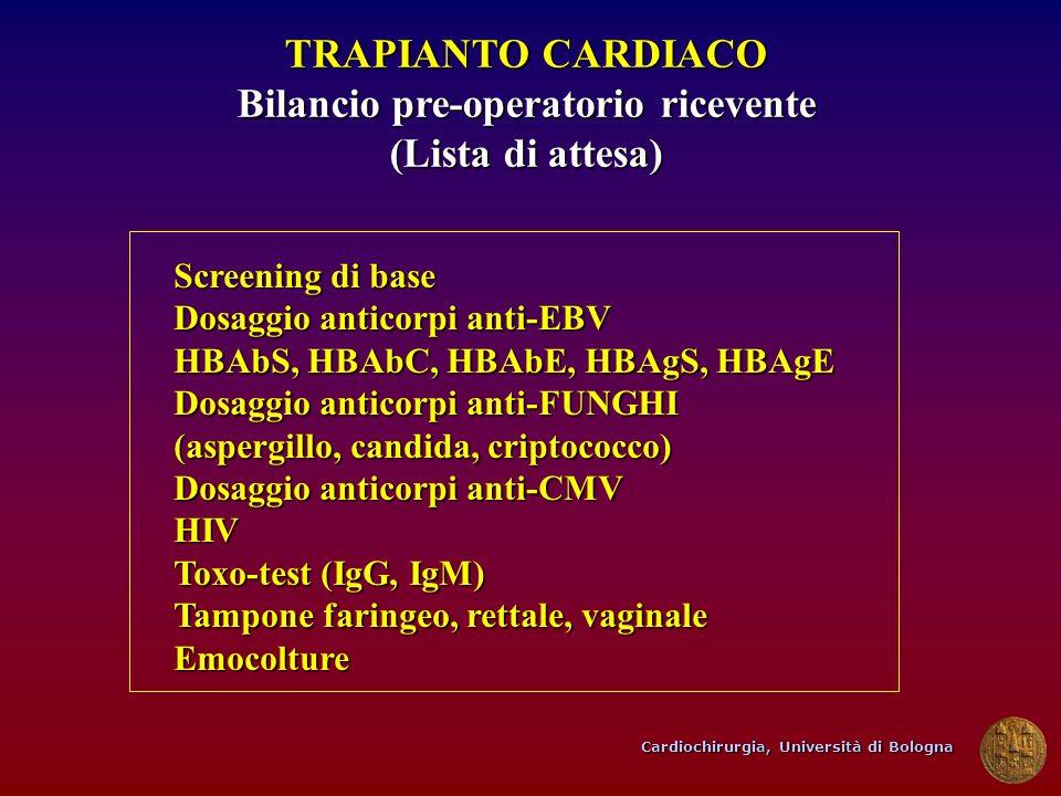 Cardiochirurgia, Università di Bologna TRAPIANTO CARDIACO Bilancio pre-operatorio ricevente (Lista di attesa) Screening di base Dosaggio anticorpi ant