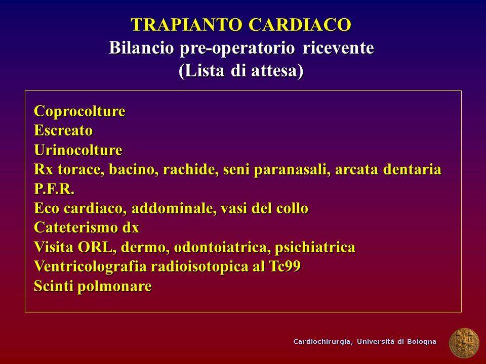 Cardiochirurgia, Università di Bologna TRAPIANTO CARDIACO Bilancio pre-operatorio ricevente (Lista di attesa) CoprocoltureEscreatoUrinocolture Rx tora