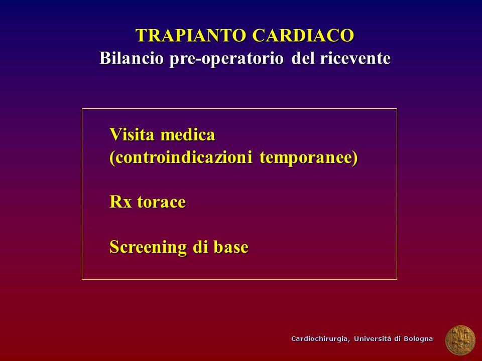 Cardiochirurgia, Università di Bologna TRAPIANTO CARDIACO Bilancio pre-operatorio del ricevente Visita medica (controindicazioni temporanee) Rx torace