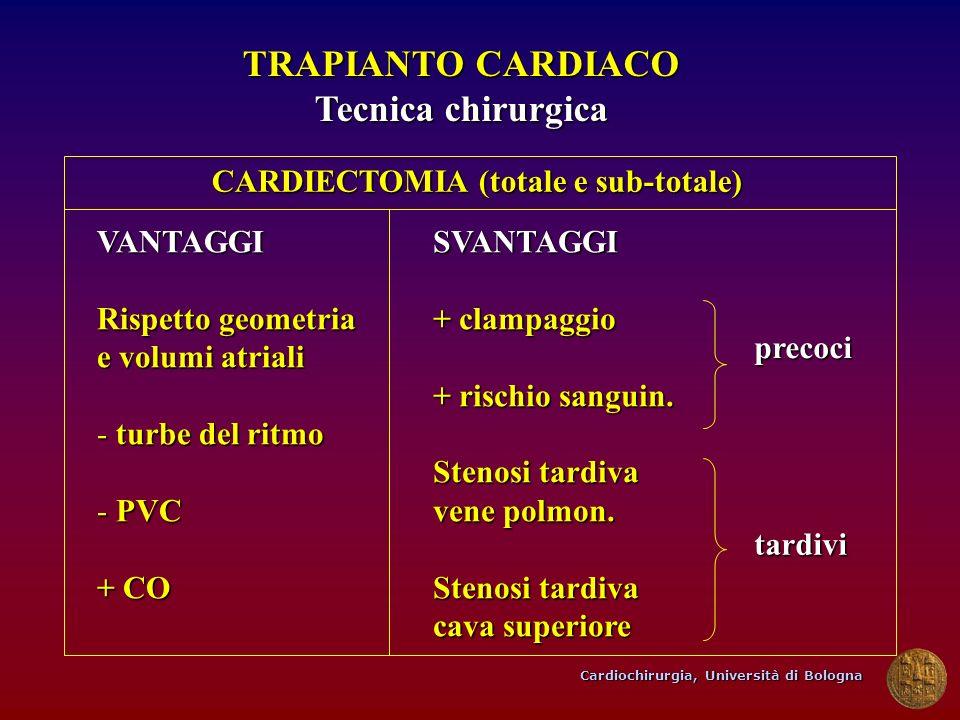 Cardiochirurgia, Università di Bologna TRAPIANTO CARDIACO Tecnica chirurgica VANTAGGI Rispetto geometria e volumi atriali - turbe del ritmo - PVC + CO