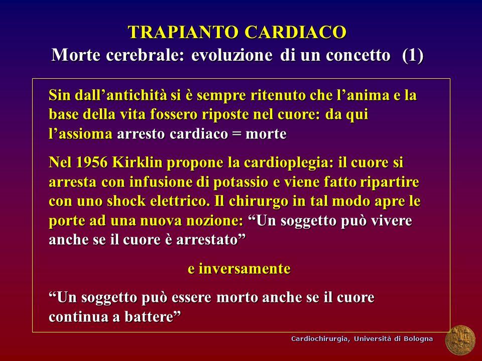 Cardiochirurgia, Università di Bologna TRAPIANTO CARDIACO Morte cerebrale: evoluzione di un concetto (1) Sin dallantichità si è sempre ritenuto che la