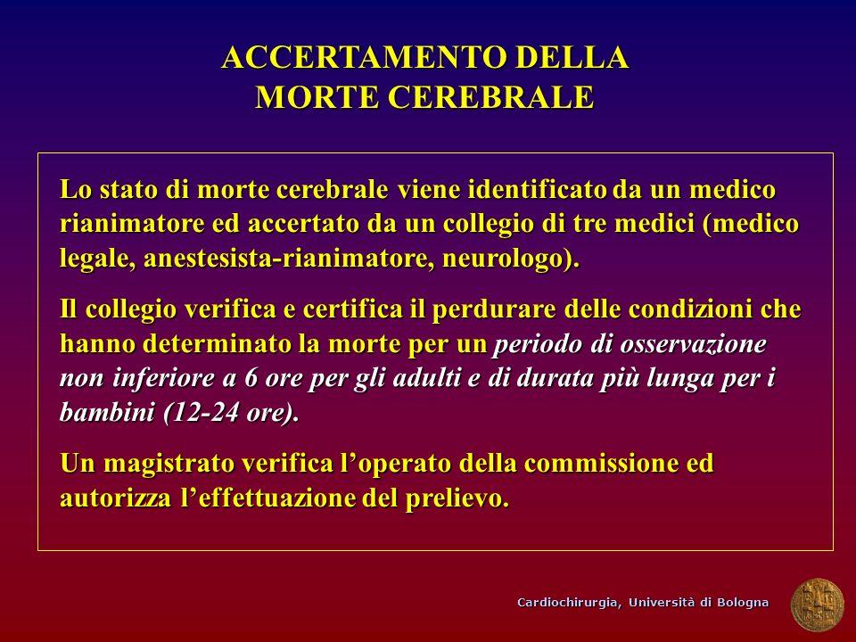 Cardiochirurgia, Università di Bologna ACCERTAMENTO DELLA MORTE CEREBRALE Lo stato di morte cerebrale viene identificato da un medico rianimatore ed a