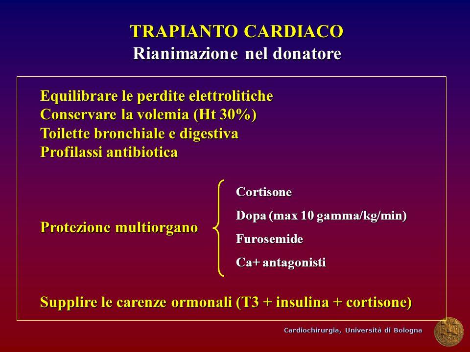 Cardiochirurgia, Università di Bologna TRAPIANTO CARDIACO Rianimazione nel donatore Equilibrare le perdite elettrolitiche Conservare la volemia (Ht 30
