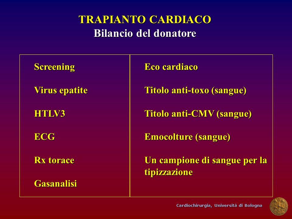Cardiochirurgia, Università di Bologna TRAPIANTO CARDIACO Bilancio del donatore Screening Virus epatite HTLV3ECG Rx torace Gasanalisi Eco cardiaco Tit