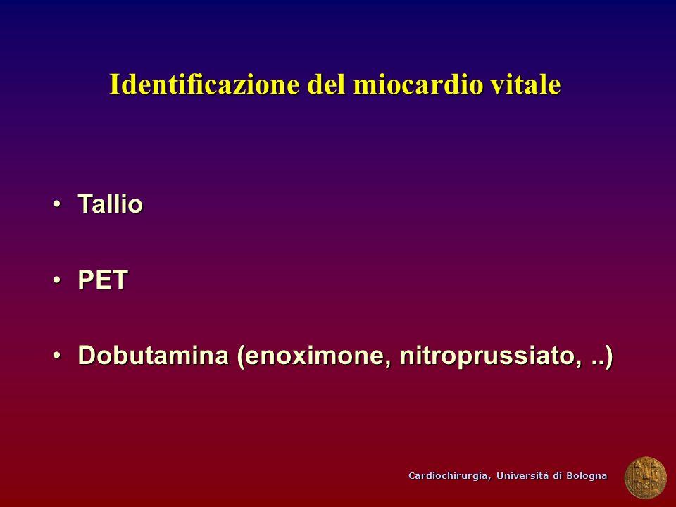 Cardiochirurgia, Università di Bologna Identificazione del miocardio vitale TallioTallio PETPET Dobutamina (enoximone, nitroprussiato,..)Dobutamina (e