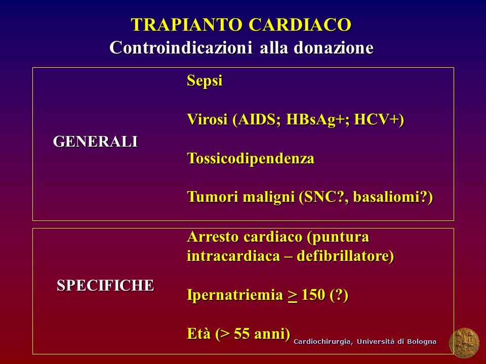 Cardiochirurgia, Università di Bologna TRAPIANTO CARDIACO Controindicazioni alla donazione Sepsi Virosi (AIDS; HBsAg+; HCV+) Tossicodipendenza Tumori