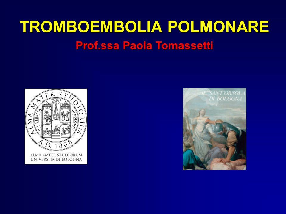 EMBOLIA POLMONARE Ostruzione acuta, ricorrente o cronica di uno o più vasi arteriosi polmonari, determinata dalla presenza di coaguli ematici provenienti da trombosi a sede periferica nel sistema venoso profondo (tromboembolia).