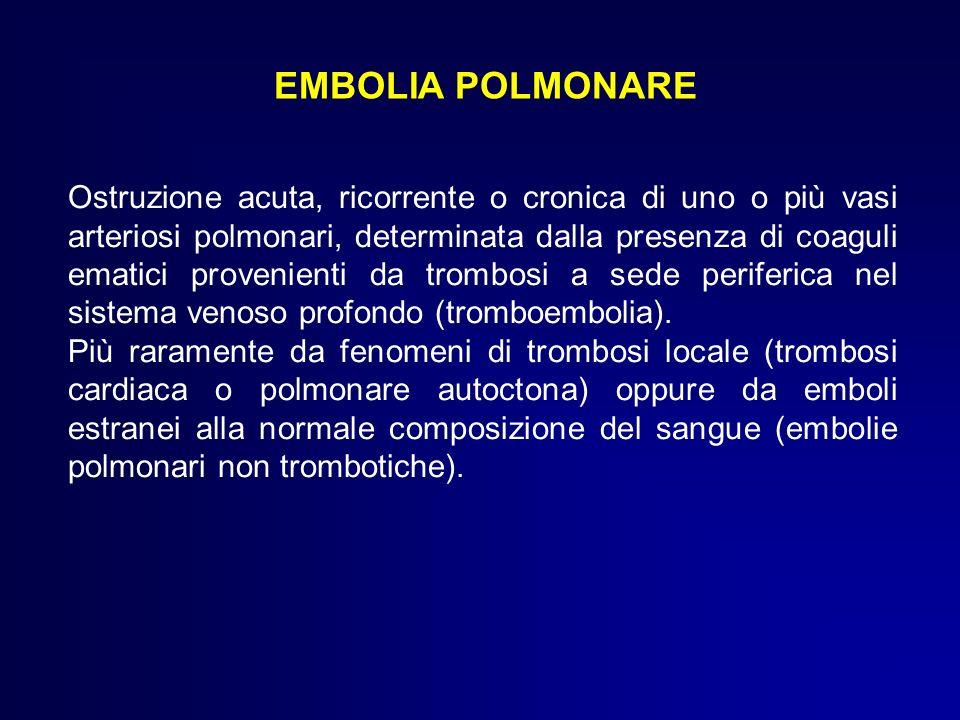 EMBOLIA POLMONARE Ostruzione acuta, ricorrente o cronica di uno o più vasi arteriosi polmonari, determinata dalla presenza di coaguli ematici provenie