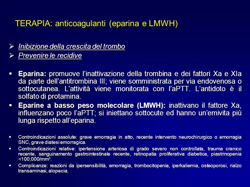 TERAPIA: anticoagulanti (eparina e LMWH) Inibizione della crescita del trombo Inibizione della crescita del trombo Prevenire le recidive Prevenire le