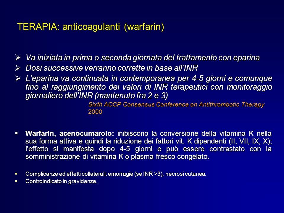 Va iniziata in prima o seconda giornata del trattamento con eparina Va iniziata in prima o seconda giornata del trattamento con eparina Dosi successiv