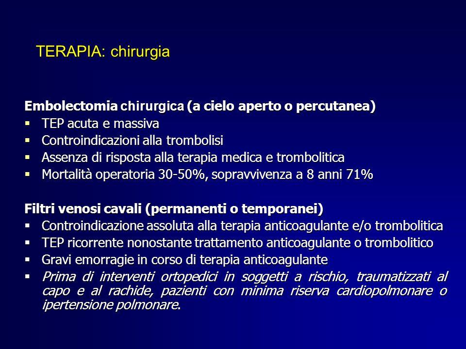 Embolectomia chirurgica (a cielo aperto o percutanea) TEP acuta e massiva TEP acuta e massiva Controindicazioni alla trombolisi Controindicazioni alla
