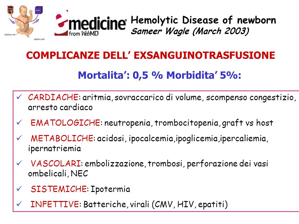 Hemolytic Disease of newborn Sameer Wagle (March 2003) COMPLICANZE DELL EXSANGUINOTRASFUSIONE Mortalita: 0,5 % Morbidita 5%: CARDIACHE: aritmia, sovra