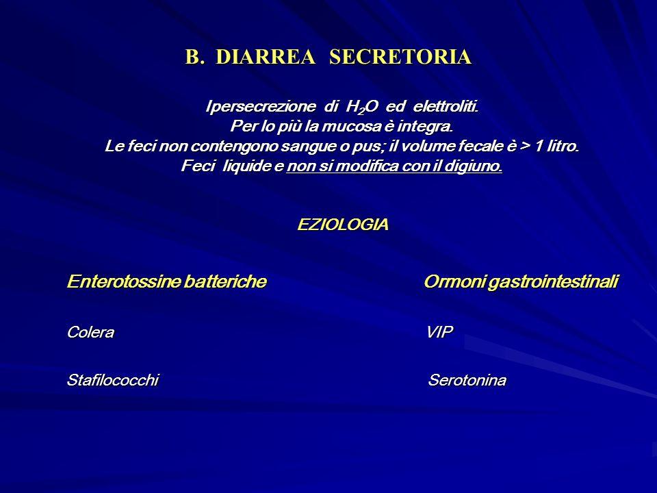 B.DIARREA SECRETORIA Ipersecrezione di H 2 O ed elettroliti.