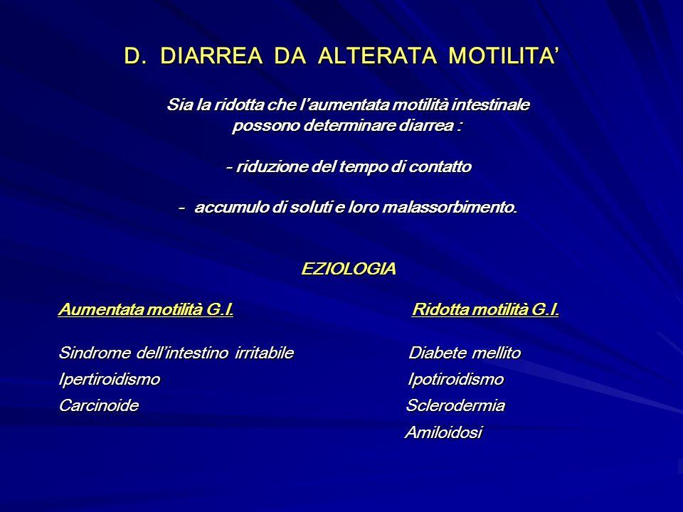 D. DIARREA DA ALTERATA MOTILITA Sia la ridotta che laumentata motilità intestinale possono determinare diarrea : - riduzione del tempo di contatto - a