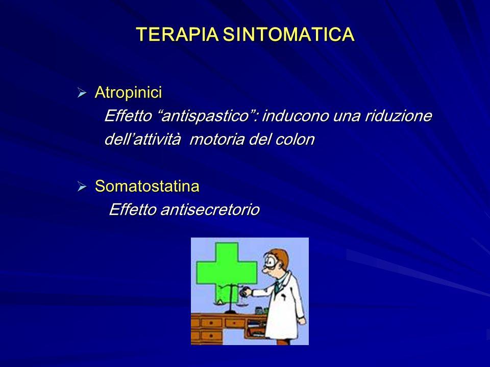 Atropinici Atropinici Effetto antispastico: inducono una riduzione Effetto antispastico: inducono una riduzione dellattività motoria del colon dellattività motoria del colon Somatostatina Somatostatina Effetto antisecretorio Effetto antisecretorio TERAPIA SINTOMATICA