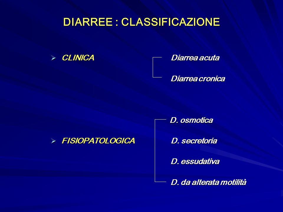 DIARREE : CLASSIFICAZIONE CLINICA Diarrea acuta CLINICA Diarrea acuta Diarrea cronica Diarrea cronica D.