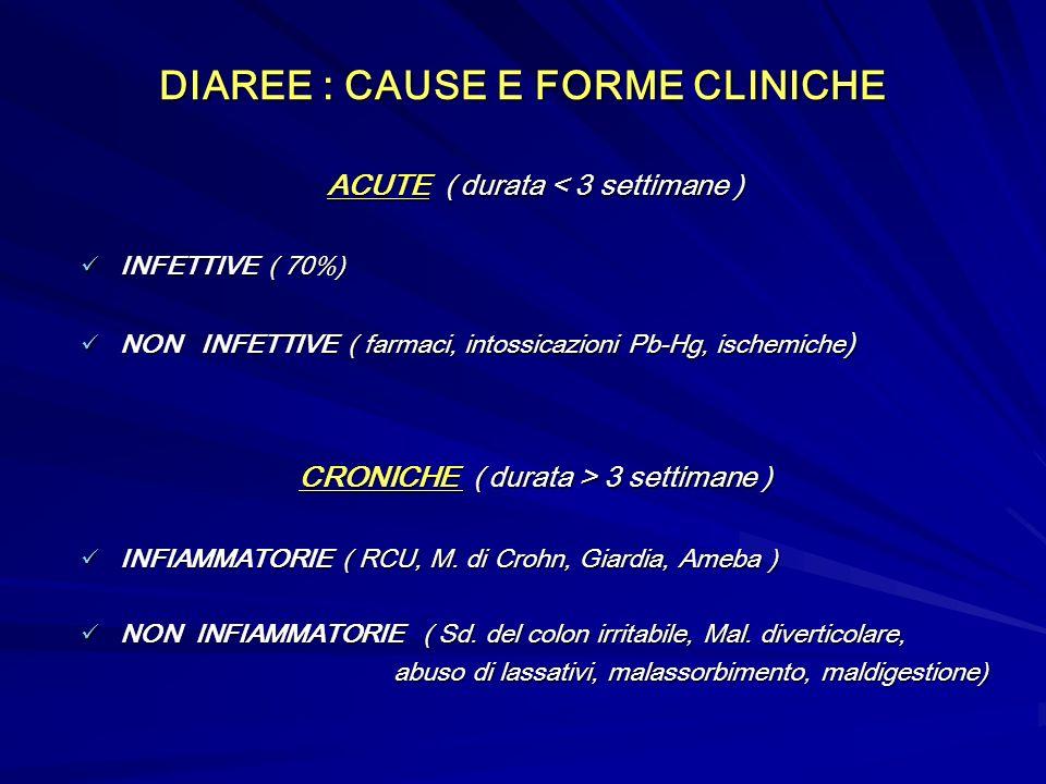 DIAREE : CAUSE E FORME CLINICHE ACUTE ( durata < 3 settimane ) INFETTIVE ( 70%) INFETTIVE ( 70%) NON INFETTIVE ( farmaci, intossicazioni Pb-Hg, ischemiche ) NON INFETTIVE ( farmaci, intossicazioni Pb-Hg, ischemiche ) CRONICHE ( durata > 3 settimane ) INFIAMMATORIE ( RCU, M.