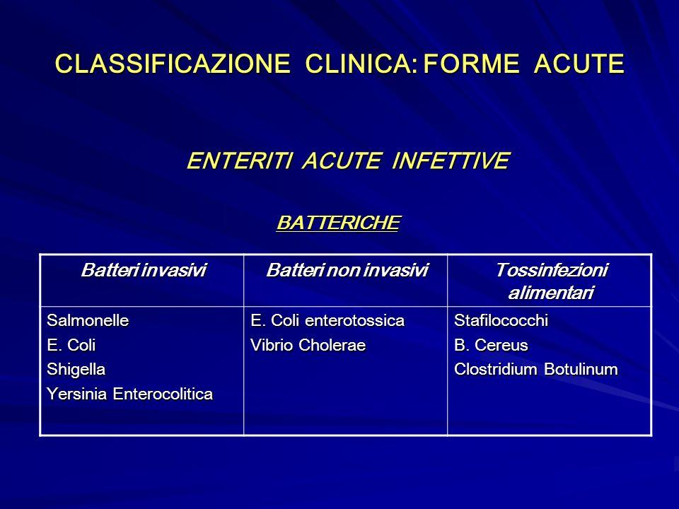 CLASSIFICAZIONE CLINICA: FORME ACUTE ENTERITI ACUTE INFETTIVE ENTERITI ACUTE INFETTIVEBATTERICHE Batteri invasivi Batteri non invasivi Tossinfezioni alimentari Salmonelle E.
