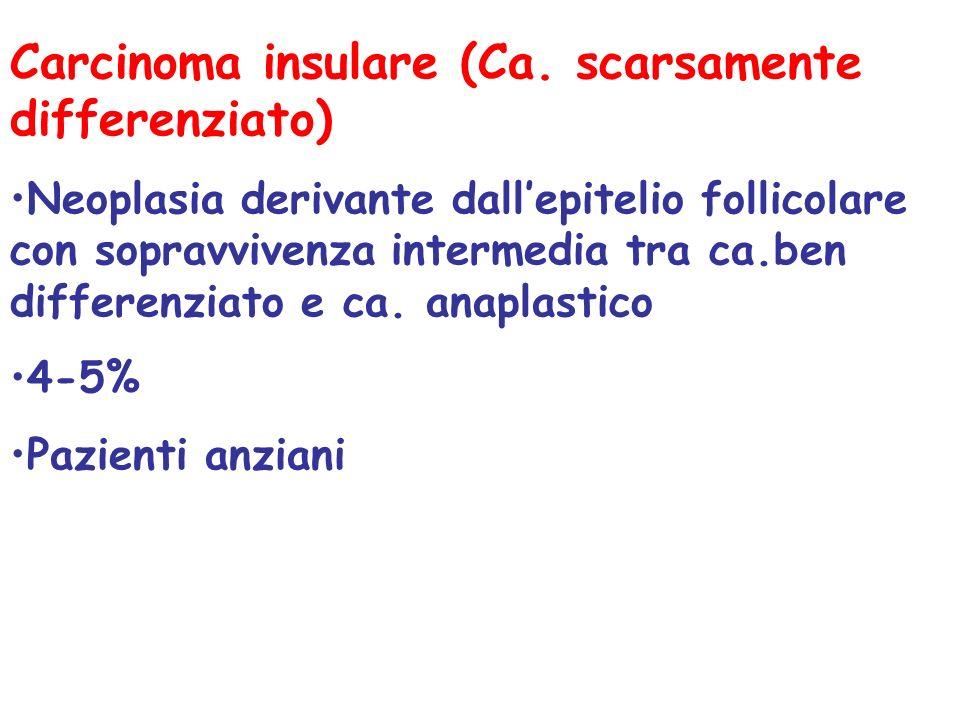 Carcinoma insulare (Ca. scarsamente differenziato) Neoplasia derivante dallepitelio follicolare con sopravvivenza intermedia tra ca.ben differenziato