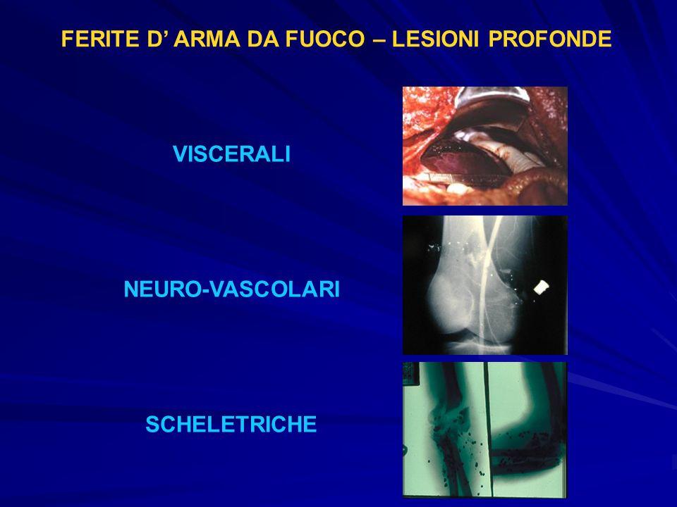 FERITE D ARMA DA FUOCO – LESIONI PROFONDE VISCERALI NEURO-VASCOLARI SCHELETRICHE