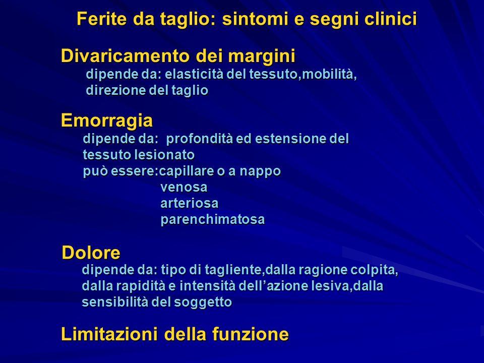 Ferite da taglio: sintomi e segni clinici Divaricamento dei margini dipende da: elasticità del tessuto,mobilità, direzione del taglio Emorragia dipend