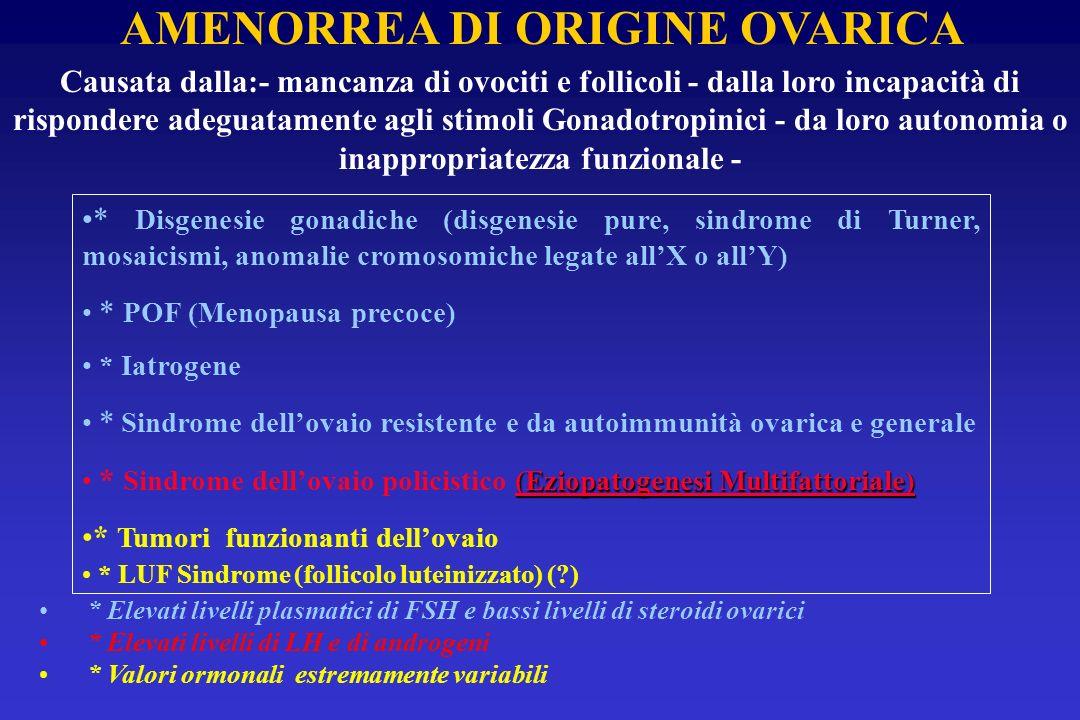 * Disgenesie gonadiche (disgenesie pure, sindrome di Turner, mosaicismi, anomalie cromosomiche legate allX o allY) * POF (Menopausa precoce) * Iatroge