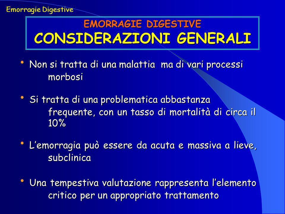 Emorragie Digestive EMORRAGIE DIGESTIVE - TRATTAMENTO TERAPIA CHIRURGICA INDICAZIONI INDICAZIONI Fallimento di terapia medica e/o endoscopica Fallimento di terapia medica e/o endoscopica Recidiva emorragica dopo terapia endoscopica Recidiva emorragica dopo terapia endoscopica Emorragie massive non controllabili Emorragie massive non controllabili