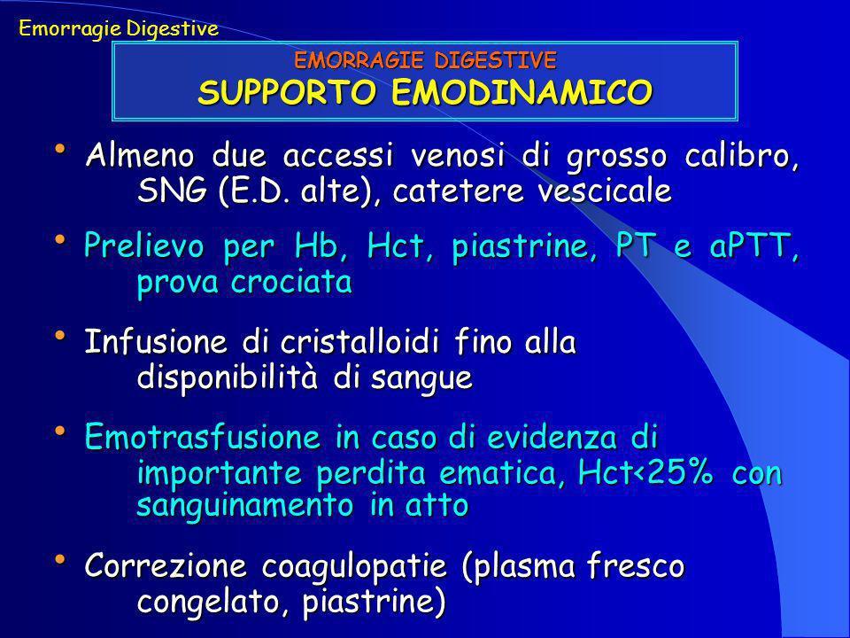 Almeno due accessi venosi di grosso calibro, SNG (E.D. alte), catetere vescicale Almeno due accessi venosi di grosso calibro, SNG (E.D. alte), cateter