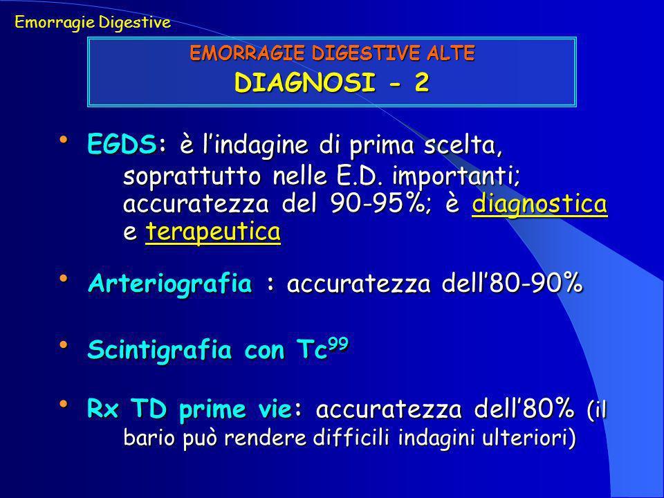 EGDS: è lindagine di prima scelta, soprattutto nelle E.D. importanti; accuratezza del 90-95%; è diagnostica e terapeutica EGDS: è lindagine di prima s