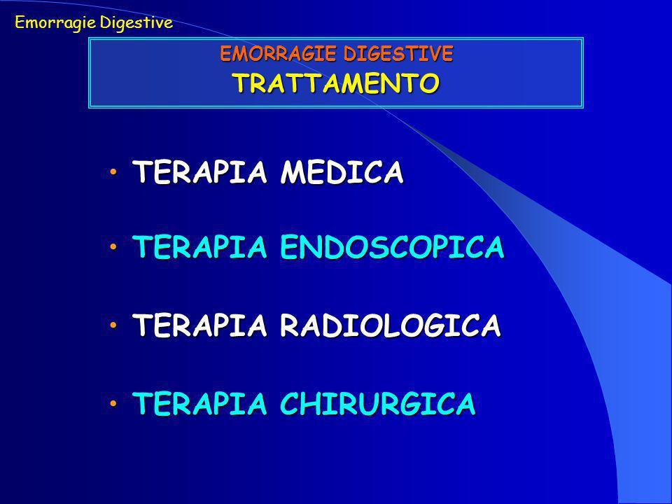 Emorragie Digestive EMORRAGIE DIGESTIVE TRATTAMENTO TERAPIA MEDICA TERAPIA MEDICA TERAPIA ENDOSCOPICA TERAPIA ENDOSCOPICA TERAPIA RADIOLOGICA TERAPIA