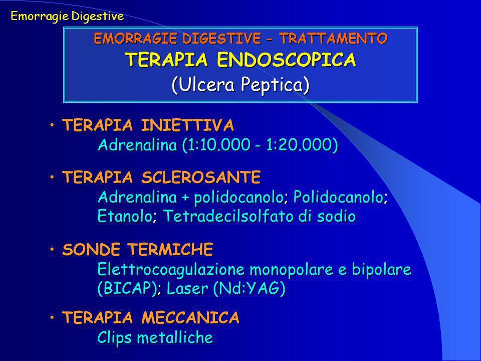 Emorragie Digestive EMORRAGIE DIGESTIVE - TRATTAMENTO TERAPIA ENDOSCOPICA (Ulcera Peptica) TERAPIA INIETTIVA TERAPIA INIETTIVA Adrenalina (1:10.000 -