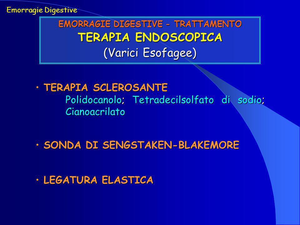 Emorragie Digestive EMORRAGIE DIGESTIVE - TRATTAMENTO TERAPIA ENDOSCOPICA (Varici Esofagee) TERAPIA SCLEROSANTE TERAPIA SCLEROSANTE Polidocanolo; Tetr