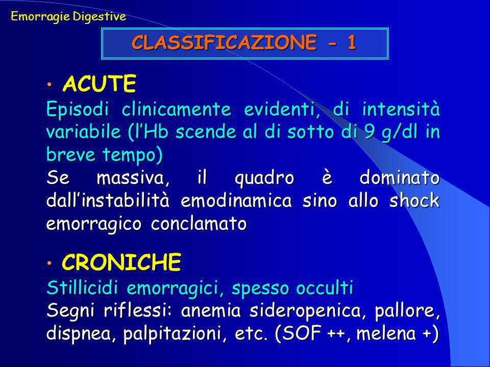 CLASSIFICAZIONE - 2 Emorragie Digestive ALTE (origine prossimale al Treitz) ALTE (origine prossimale al Treitz) ESOFAGO, STOMACO, DUODENO, fegato, pancreas BASSE (origine distale al Treitz) BASSE (origine distale al Treitz) TENUE, COLON, RETTO