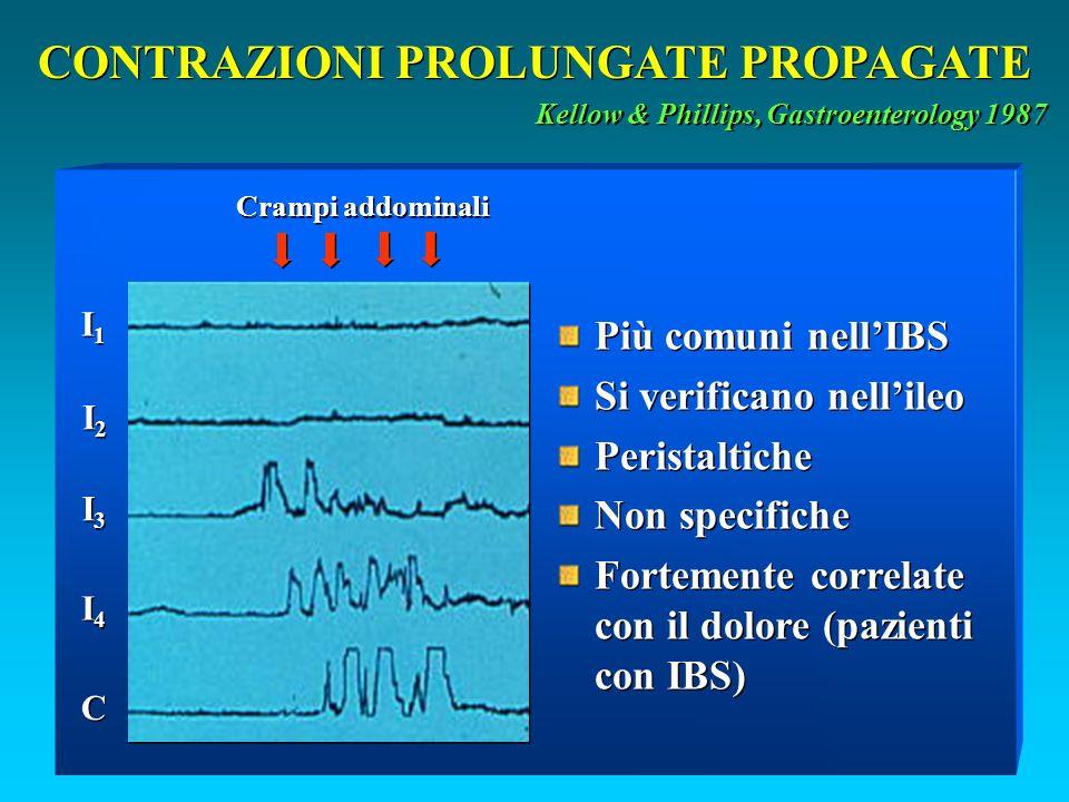 CONTRAZIONI PROLUNGATE PROPAGATE Kellow & Phillips, Gastroenterology 1987 I1I1 I1I1 I2I2 I2I2 I3I3 I3I3 I4I4 I4I4 C C Crampi addominali Più comuni nellIBS Si verificano nellileo Peristaltiche Non specifiche Fortemente correlate con il dolore (pazienti con IBS) Più comuni nellIBS Si verificano nellileo Peristaltiche Non specifiche Fortemente correlate con il dolore (pazienti con IBS)
